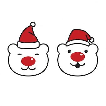 Head bear polar santa claus