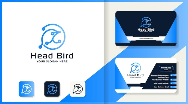 Head bird circuit tech logo and business card design