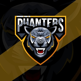 Head black panther mascot logo esport template
