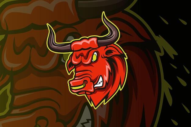 Head bull head mascot character cartoon logo illustration