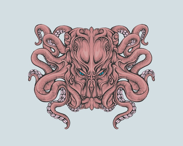 Head cthulhu in color hand drawing