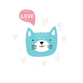 Head of cute cat in hand-drawn style