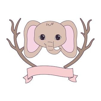 Head of cute elephant with tree branches and ribbon