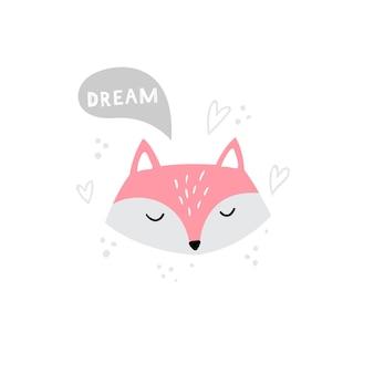 Head of cute fox in hand-drawn style