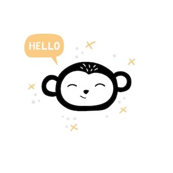 Head of cute monkey in hand-drawn style