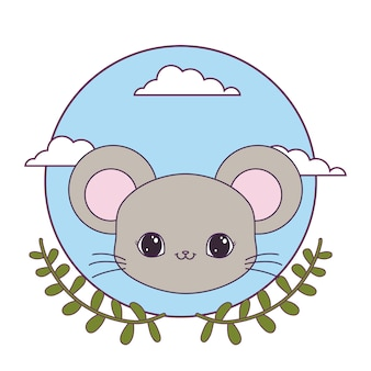 Head of cute mouse animal with crown leafs