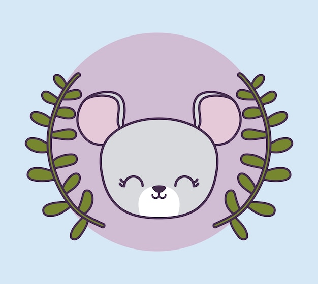 Head of cute mouse in crown leafs