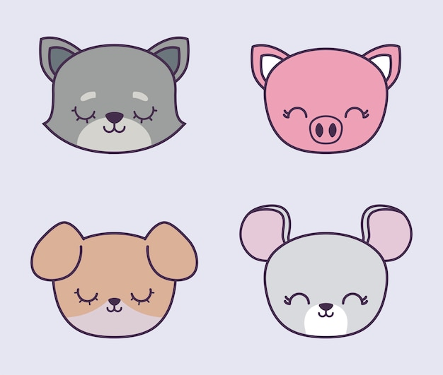 Head of cute piggy with group animals