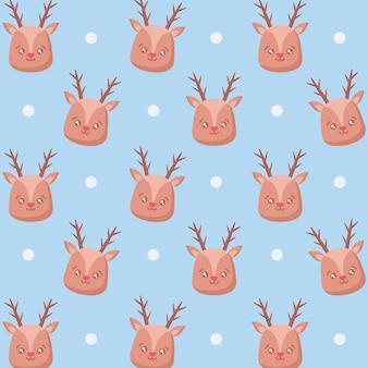 Head of cute reindeer christmas pattern