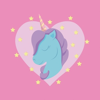 Head cute unicorn of fairy tale with heart