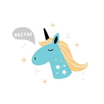 Head of cute unicorn in hand-drawn style