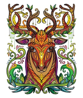 Head of deer adult anti stress coloring book page. vector illustration.