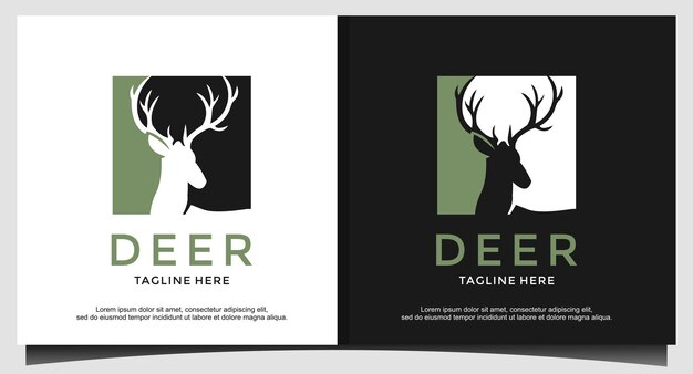 Head deer hunter logo design vector