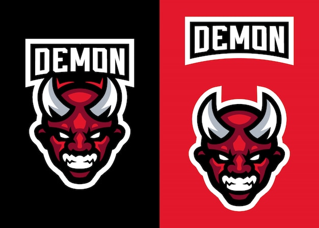 Head devil mascot logo for sports and esportsロゴ