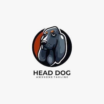 Head dog logo design animal mascot Premium Vector