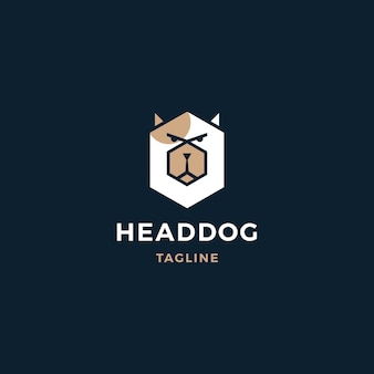頭の犬のロゴ