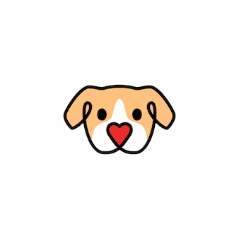Head dog with love shape nose logo icon