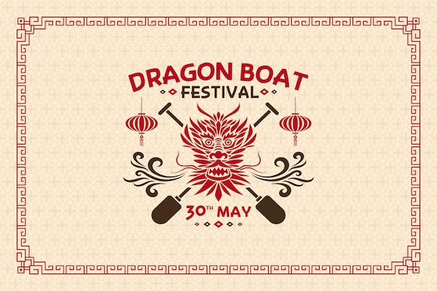 Head of dragon boat flat design background