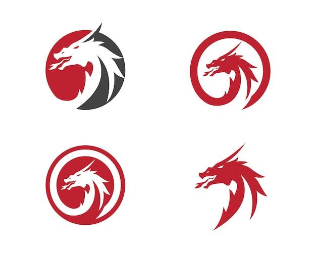 Голова дракона плоский цветной логотип шаблон векторные иллюстрации