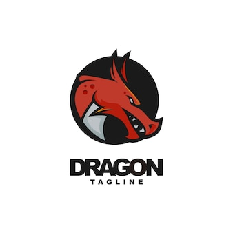 Head dragon mascot logo design