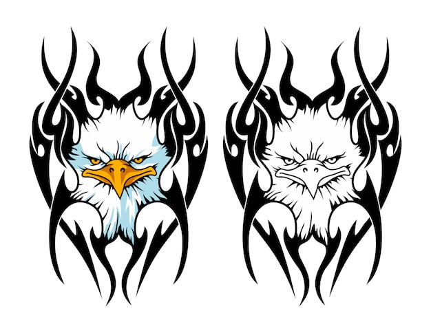 The head of an eagle with tribal tattoo sport logo mascot