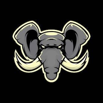 머리 코끼리 마스코트 그림 프리미엄 벡터