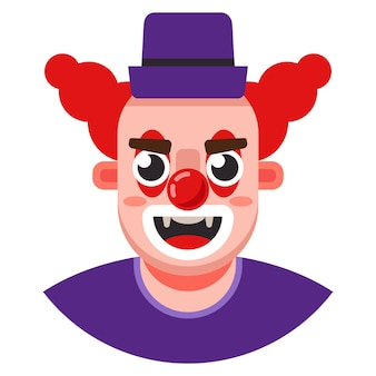 Head of an evil clown in a hat. flat character vector illustration.