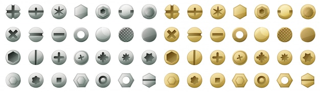 Head of fastener vector cartoon set icon.isolated icon head fastener of bolt. vector illustration metal rivet of screw  .