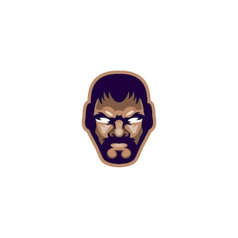 Head fighter design vector logo