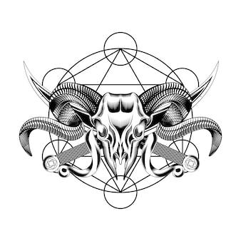Head goat evil skull