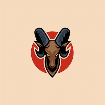 Head goat mascot illustration   logo.