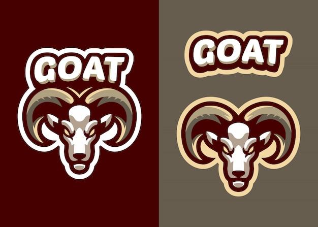 スポーツとesportsロゴのヘッドヤギマスコットロゴ