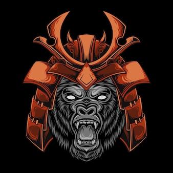 The head of the gorilla wears a japanese samurai helmet