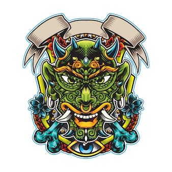 Head green evil mystical  emblem for clothing apparel and sticker usage