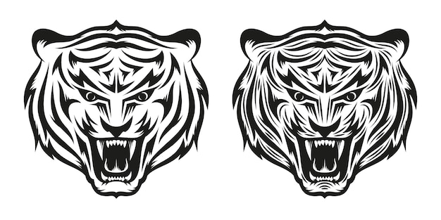 Head of growling tiger tattoo in two versionsa simple and detailed. illustration.