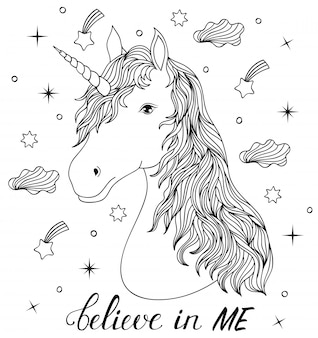 Head of hand drawn unicorn. coloring page for children and adult.