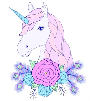 Head of hand drawn unicorn with floral wreath