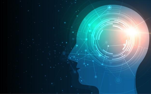 Head of human artificial intelligence digital wireframe dot