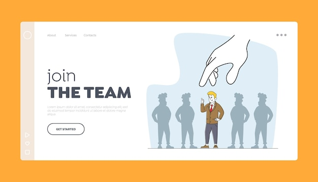 Head hunting employment landing page template. job hiring, business recruitment. huge hand choose businessman character stand out of crowd