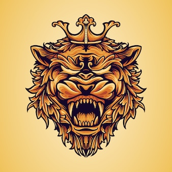 Head king lion logo with ornaments