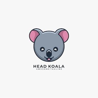 Head koala cartoon cute illustration logo