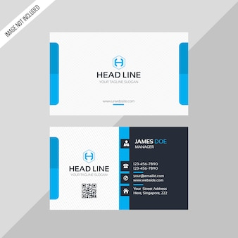 Head line business card blue color