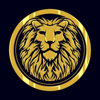 Head lion gold logo