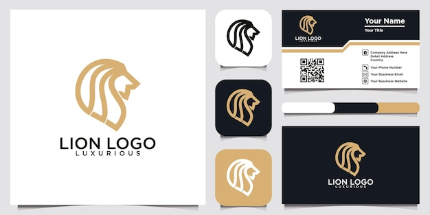 Head lion logo template design and business card Premium Vector