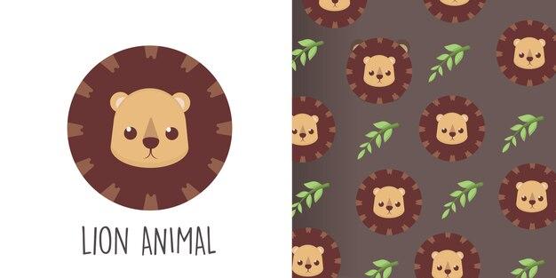Head lion seamless pattern