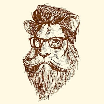 The head of a lion with glasses, drawn in ink. vector illustration