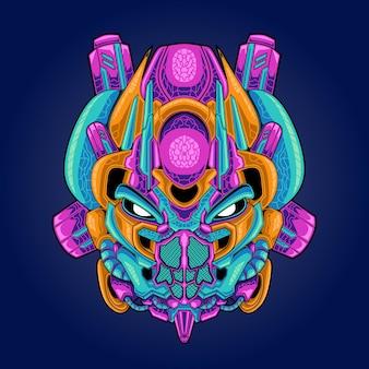 Head mecha insect illustration