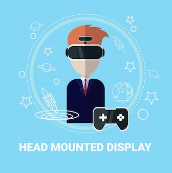Head mounted display man wearing virtual reality headset modern gaming technology concept