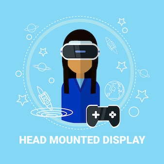 Head mounted display woman wearing virtual reality headset modern gaming technology concept