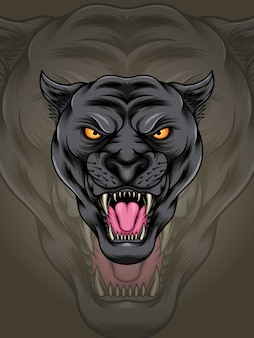 Head muscular black panther illustration